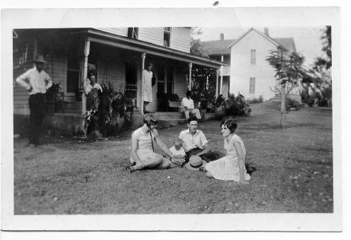 Back (l-r): Olney App Rudd, Julia Rebecca (Usrey) Rudd, Gertrude Grace Rudd, and Grover Cleveland Parrish. Front (l-r): Benita Cleve (Parrish) Keeling, Billie Joe Rudd, Jewel Fred Rudd, and Julia Frances (Rudd) Powell. Green Forest, Arkansas. 1928.